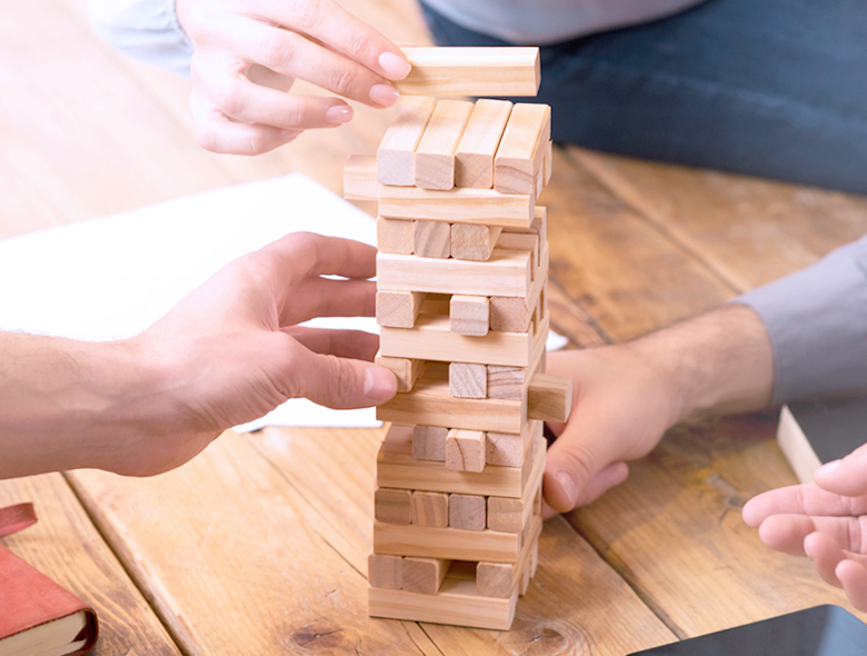 jenga game to depict talent assessment