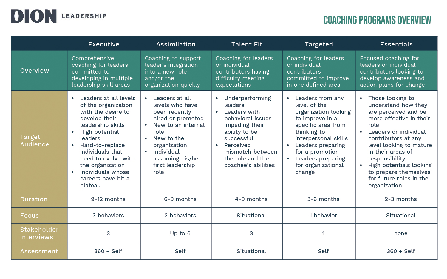 Dion Leadership Coaching Programs Overview